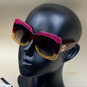Authentic Gucci GG0083S 002 Oversized Sunglasses